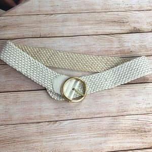 Cole Haan leather white woven wide belt